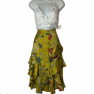 Willow and Clay Satin floral ruffle skirt